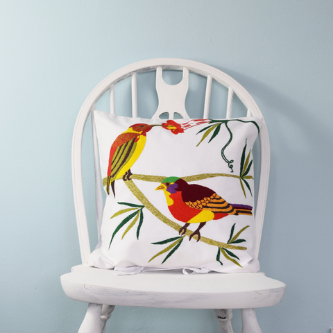 "Colourful Birds, Embroidered Cushion Cover 16"" x 16"""