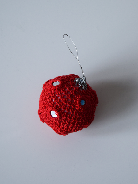 Single Red Crochet Christmas Bauble with Mirrors