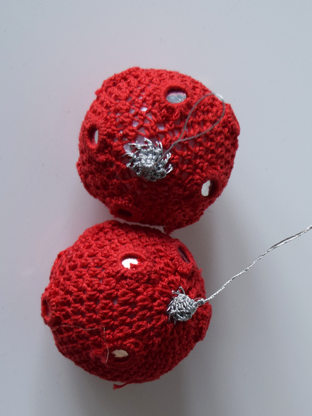 Pair of Red Crochet Christmas Baubles with Mirrors
