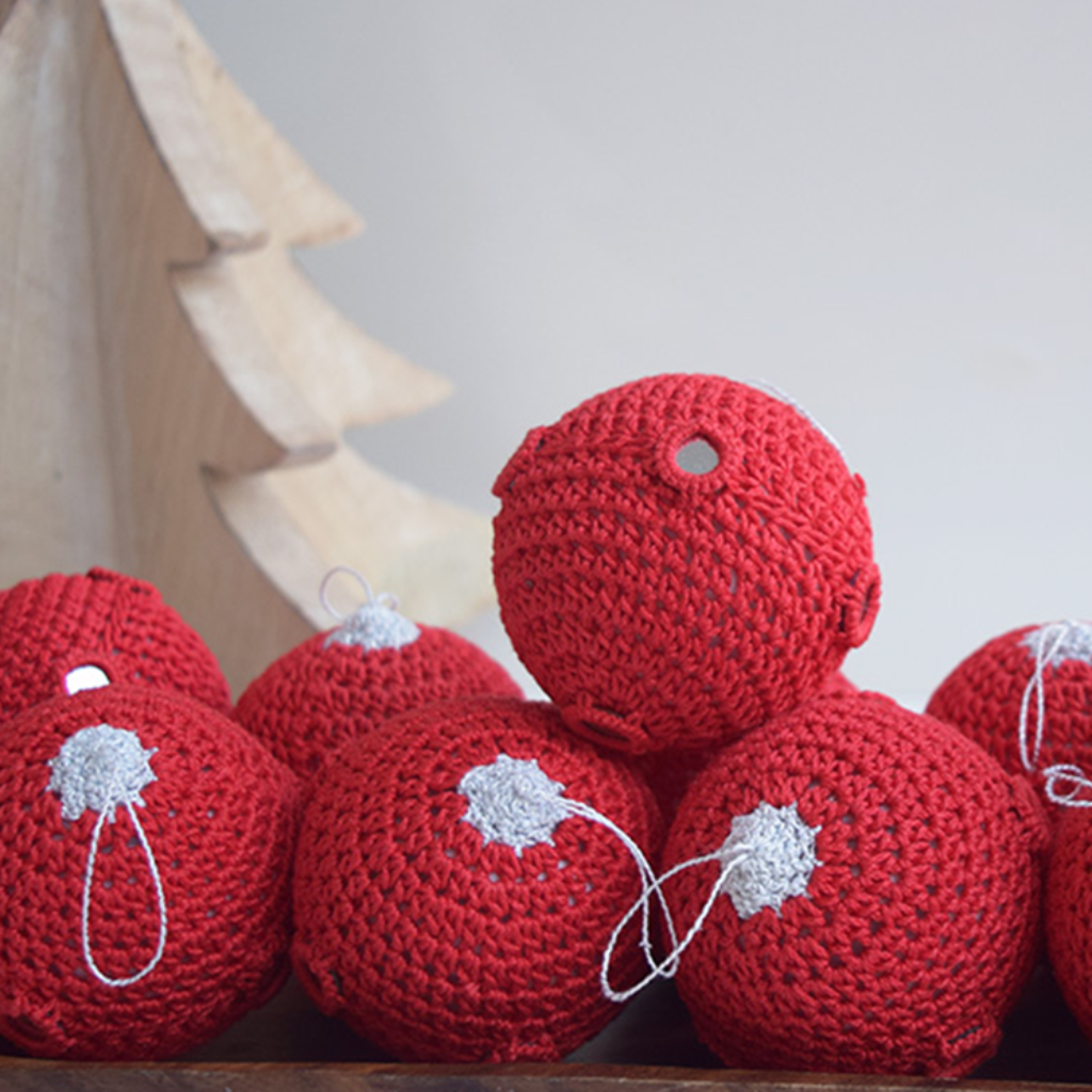 Red Crochet Christmas Baubles with Mirrors