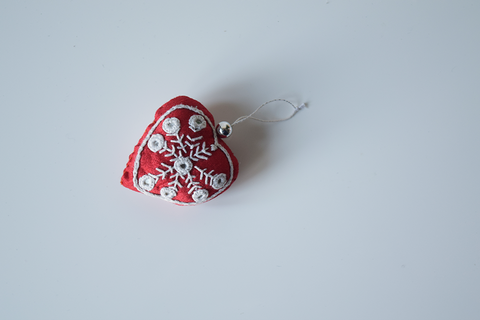 Red heart hand embroidered Christmas decoration with mirror work
