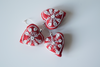 Red heart shaped Christmas decoration with white embroidery and mirror work -set of 3