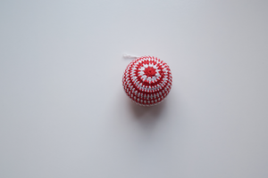 Single white and red stripe crochet Christmas baubles