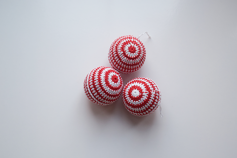 set of 3 white and red stripe crochet Christmas baubles