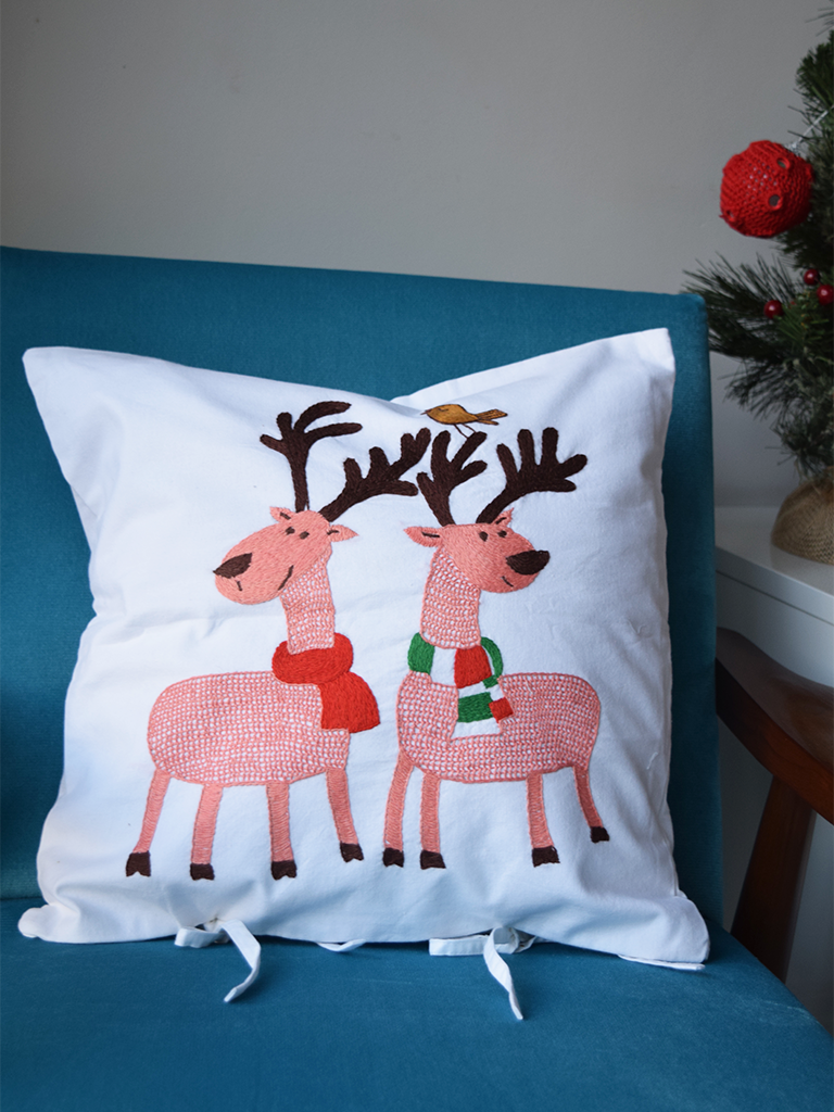 "Reindeer Embroidered Cushion Cover 16"" x 16"""