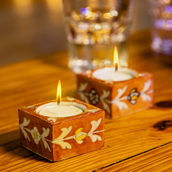 Terracotta Floral (Square), Diyas/Tealight holders