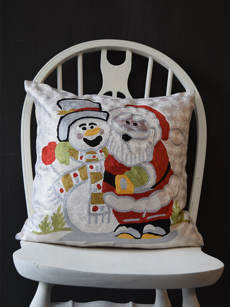 Santa Embroidered Cushion Cover