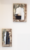 Green and white rustic mirrors-set of 2