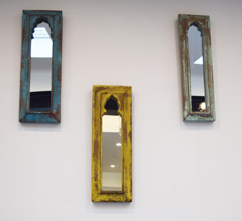 Turquoise, yellow and mint green distressed mirrors