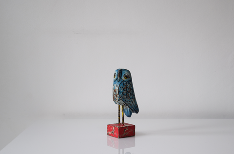 Single wooden owl- blue