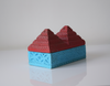 Turquoise and red wooden pyramid box-single or pair