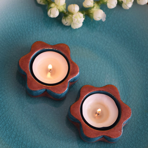 Teal and Brown, Painted Diyas/Tealight holders