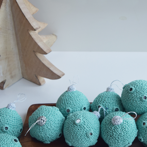 Turquoise Crochet Christmas Baubles with Mirrors