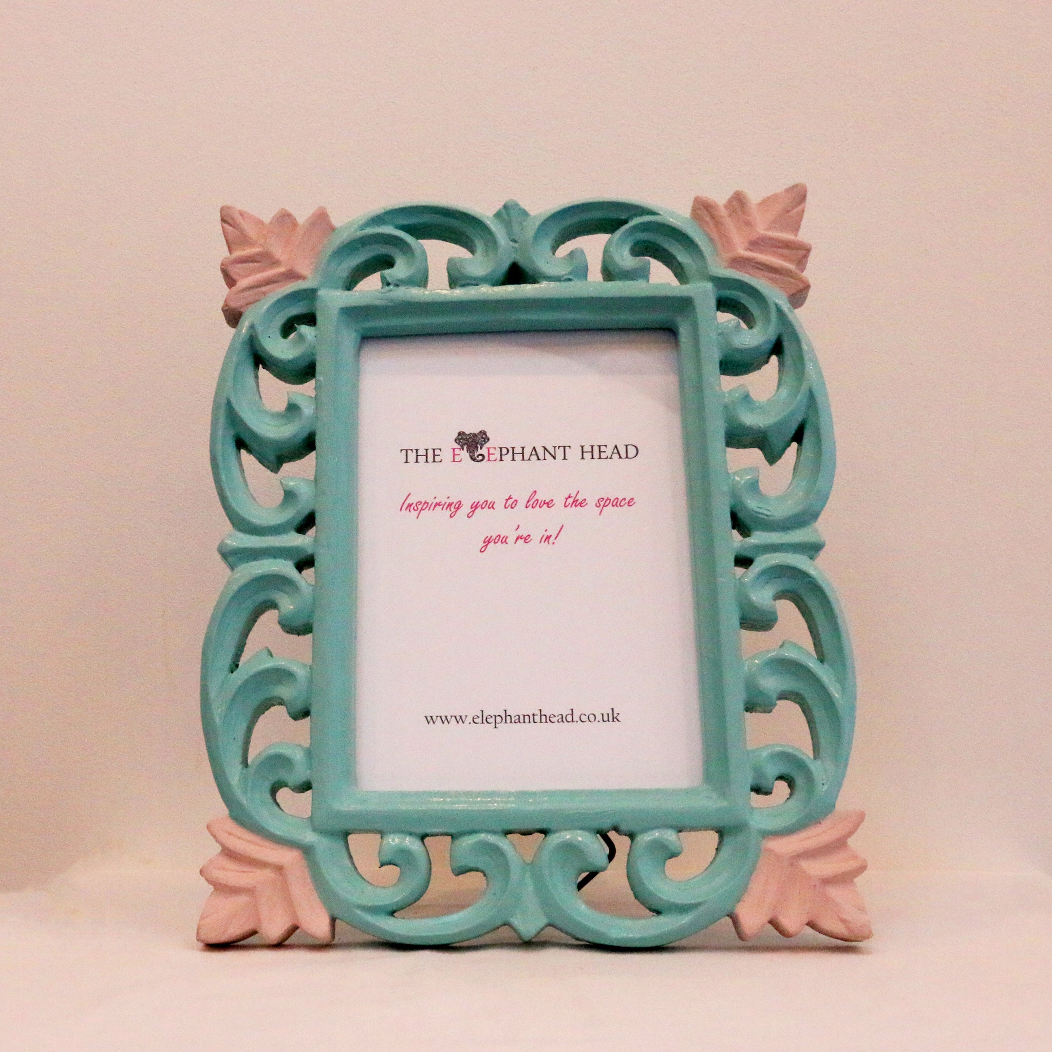 Teal surround and light pink flowers front view of picture frame