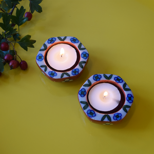 terracotta and blue small tealight holders