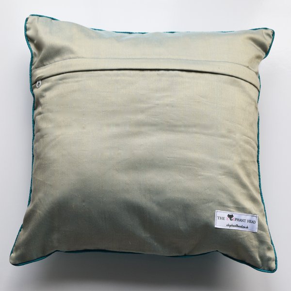 Firozi Silk Ikat Cushion Cover- light blue/green backing