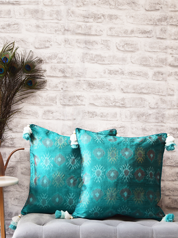 Firozi Turquoise Blue Silk Ikat Cushion Covers with tassles