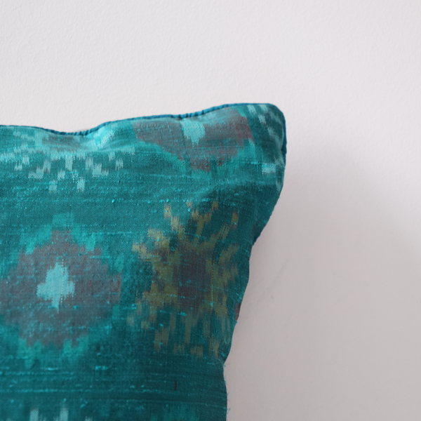 Firozi Silk Ikat Cushion Cover Plain edging