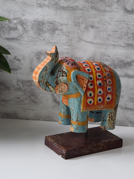 Turquoise Reclaimed Wood Elephant