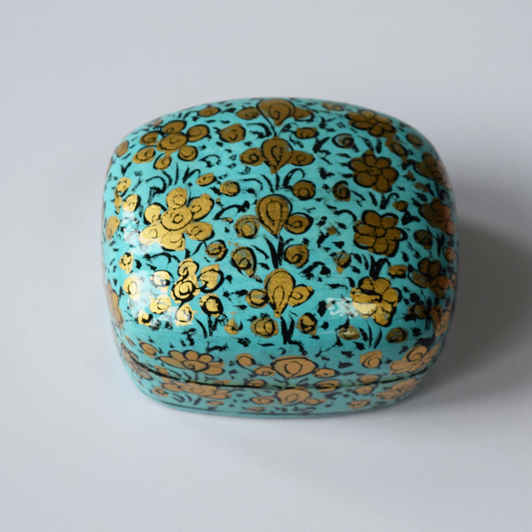 Turquoise and Gold Floral Paper Mache Box (Small)