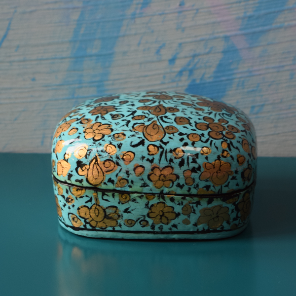 Turquoise and Gold Floral Paper Mache Box (Small) with black detailing