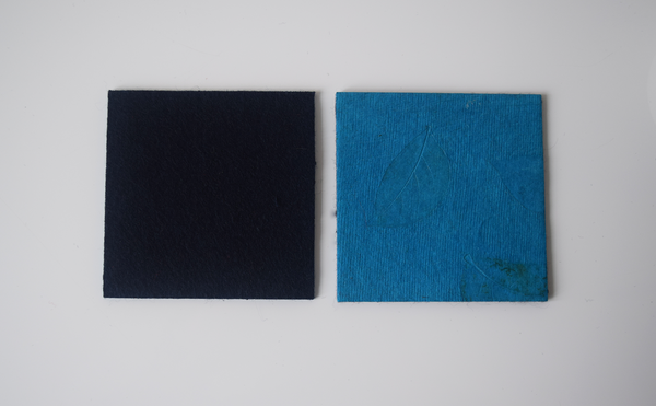 turquoise coasters with benjamin leaf imprint- with blue felt backing