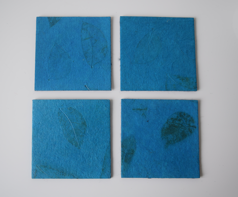 turquoise coasters with benjamin leaf imprint- set of 4