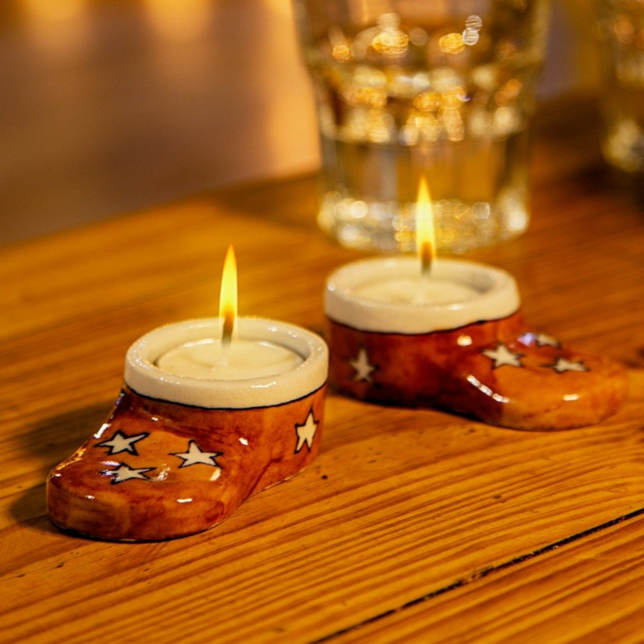 snow boots tealight holders