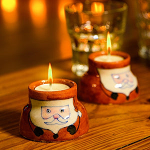 santa painted tealight holders