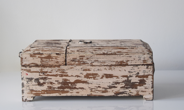 white distressed barber box- side view