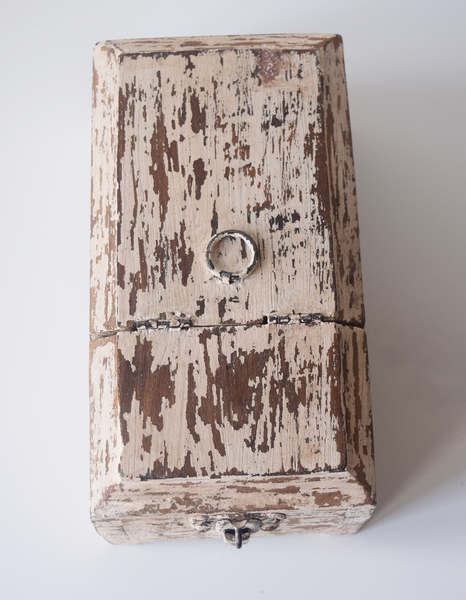 white distressed barber box- top view