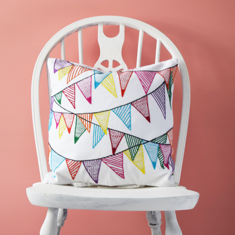 "Colourful Bunting, Embroidered Cushion Cover 16"" x 16"""