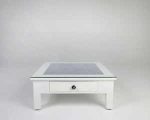Neel- White glass top coffee table, blue pottery tiles