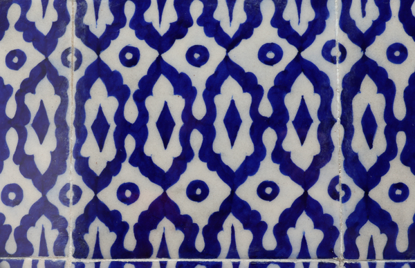 blue pottery tiles close up
