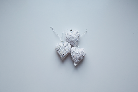 White embroidered heart shape Christmas decoration-set of 3 or single