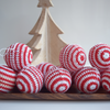 Set of 12 red and white stripe crochet Christmas baubles