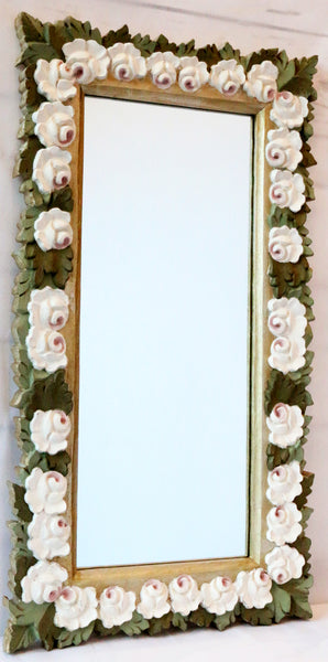 Hand carved wood mirror-gold and white