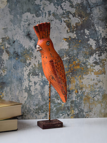 Orange Reclaimed Wood Parrot