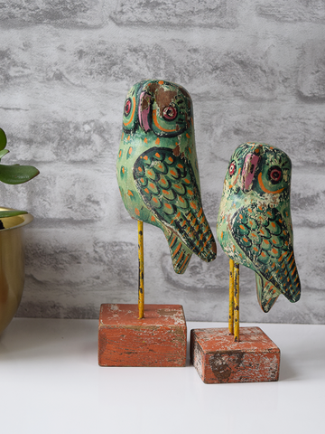 Green Reclaimed Wood Owls