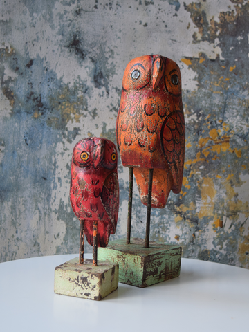 Red and Orange Reclaimed Wood Owls