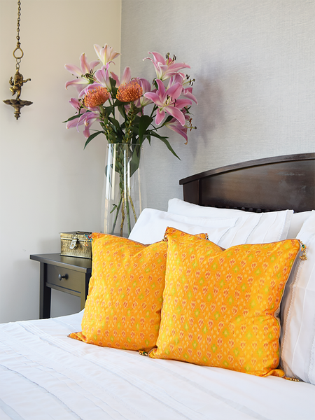 Yellow Silk Ikat Cushion Covers