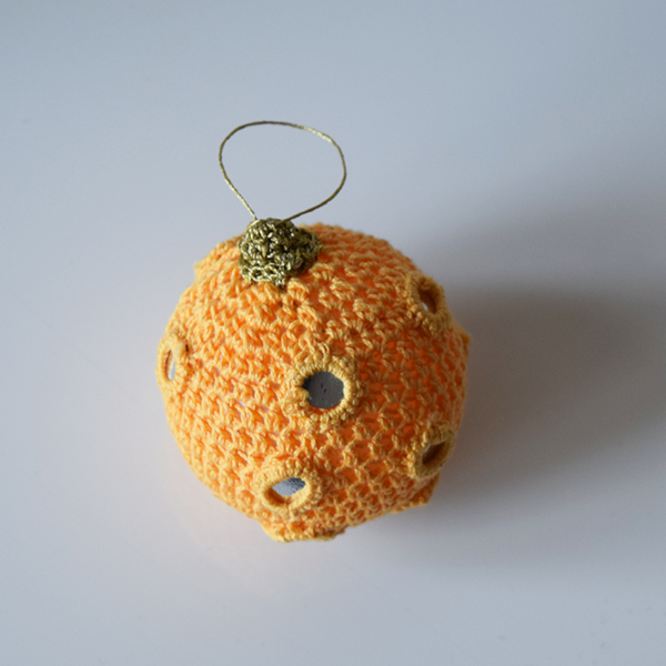 Yellow Crochet Christmas Baubles with Mirrors