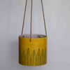 Pattee, yellow hanging planter with black leaf pattern -plain