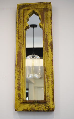 Rustic yellow distressed mirror -52 cm x 17.5 cm