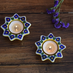 Yellow and Turquoise (Small), Painted Diyas/Tealight holders
