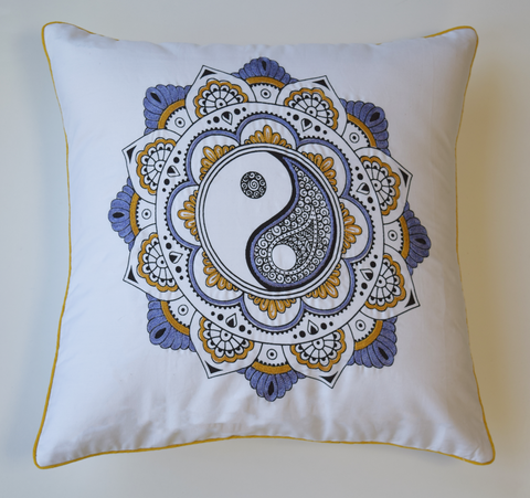 Embroidered Yin Yang cushion cover in Ochre/mustard and lilac combination