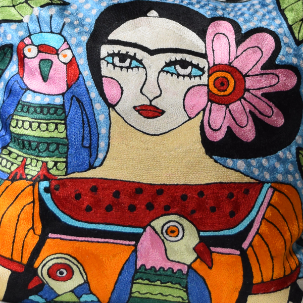 details of colourful Frida with Parrots abstract hand-embroidered cushion