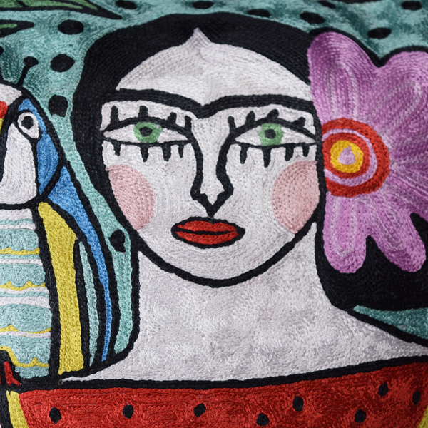 Colourful Frida with Parrots with green eyes abstract hand-embroidered cushion