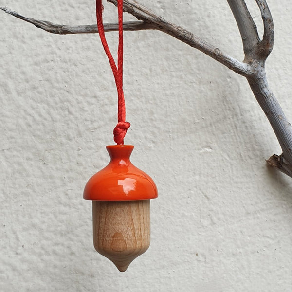 orange acorn Christmas ornament