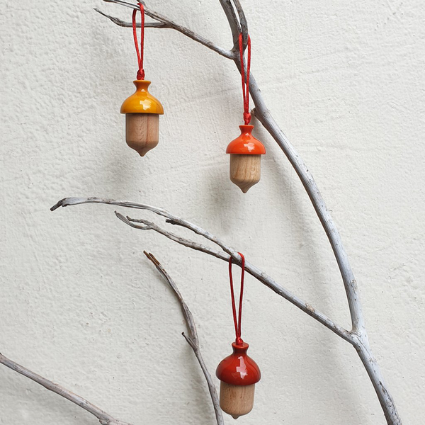 yellow, orange and red acorn Christmas ornaments